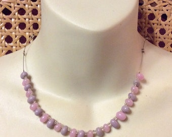 lavender and pink glass beads stone?beaded  girls necklace .