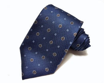 Silk Tie in Navy with Brown Floral