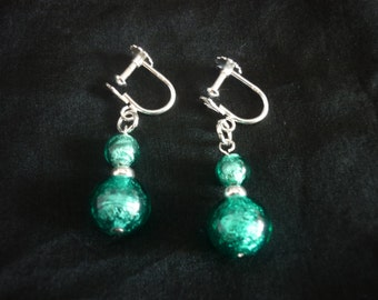 Turquoise Murano Glass Earrings