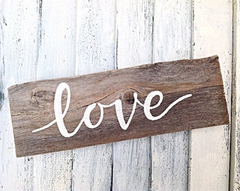 Inspirational Wall Art Love Reclaimed Wooden Sign-Rustic and Beach House Decor-Wedding Sign