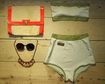 Vintage Style High Waisted Drab-Green Swimwear - Minimal Swimsuit