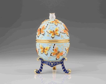 Blue Faberge Egg with Yellow Flowers Handmade by Keren Kopal Home Decor Collectors Box Russian Egg