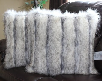 Limited Edition Wild Coyote Stone Faux Fur Pillow Cover 18 X 18 in - Set of 2