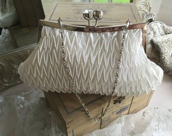 Ivory Ruched Bridal Purse