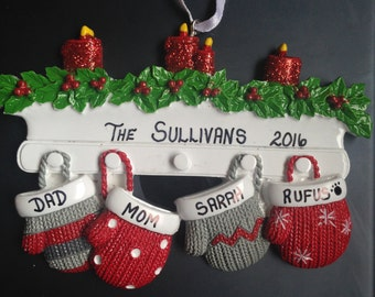 Family Mittens Personalized Christmas Ornaments