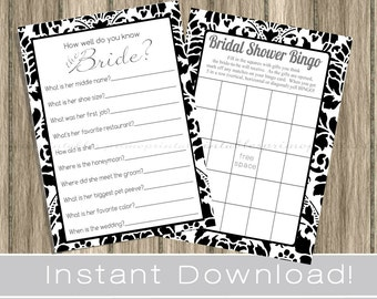Black and White BRIDAL Shower Games / Bingo, How well do you know the bride? Game Cards / damask / INSTANT DOWNLOAD / digital printable file