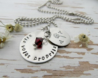 alis volat propriis dandelion necklace - she flies with her own wings - dandelion - hand stamped - inspirational quote - birthstone - grads