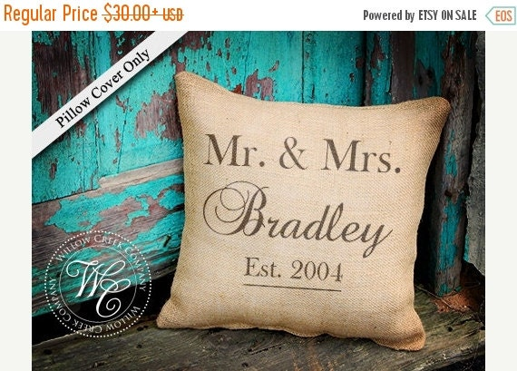 Burlap Pillow CoverPersonalized Wedding GiftPILLOW Cover with ...