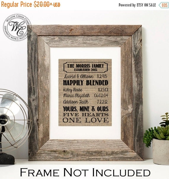 Wedding Gift Ideas Blended Family : Blended family wedding gift family name sign established blended ...