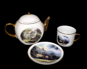 Vintage Thomas Kinkade Home is Where the Heart Is II Teapot and Moonlight Cottage Cup and Saucer By Teleflora, Collectible, Decor, Beautiful