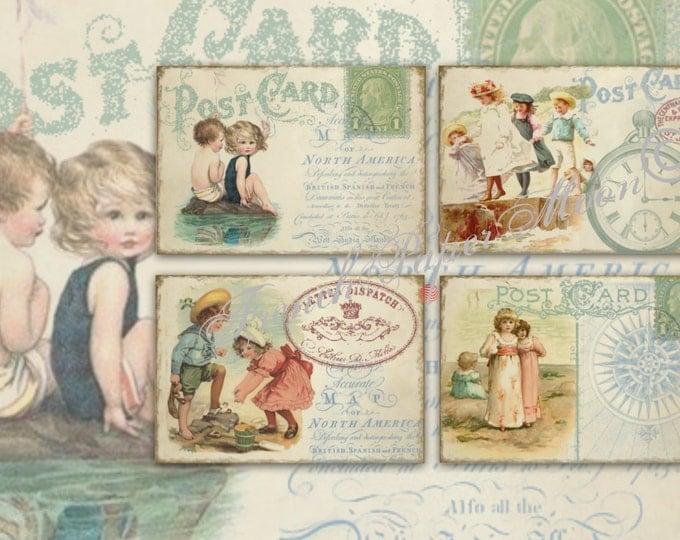 Vintage Seaside Digital Download,  Children at the Sea mini Postcards, Illustrations stories, digital collage sheet, set of 4 cards