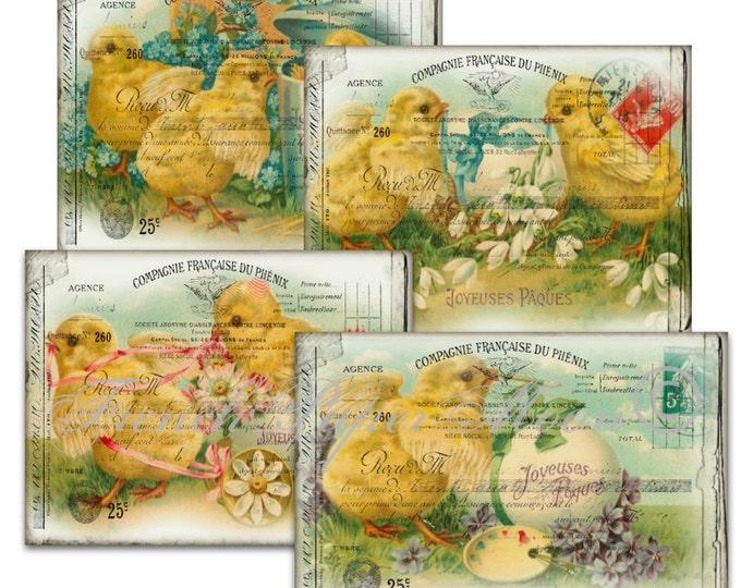 Vintage French Easter Chicks Digital Collage Sheet Printable Cards Set of 4 Easter Ephemera Printable Instant Download