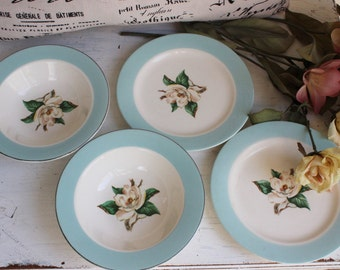Vintage China Bowl and Plate / Small Bowl, Dessert Plate / Gardenia Flower / Robins egg Blue And White China / Lifetime China Turquoise