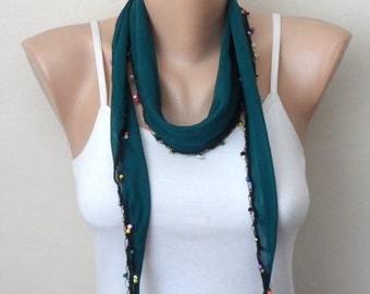 green scarf cotton scarf oya scarf shawls gifts for her birthday women scarf fashion scarf