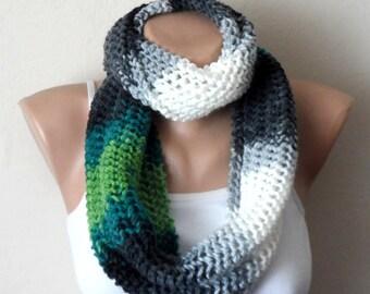 gray green white knit infinity scarf, circle scarf, winter scar, shawl, wrap