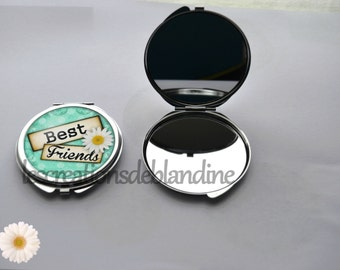 "double Pocket mirror ""Best friends"" metal, covered with a cabochon resin 40mm"