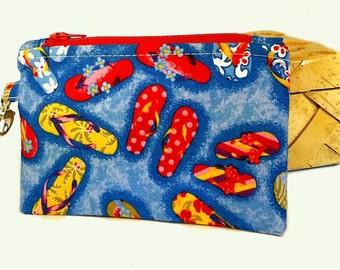 Flip Flops Coin Purse: zippered tropical small bag, Hawaiian change purse,  business card holder, earbud pouch