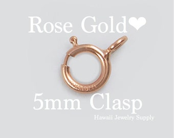 5 ea. 14K ROSE Gold Filled Spring Clasp 5mm, Closed Ring