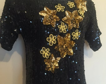 Gorgeous Vintage Heavily Sequin Top, Black and Gold Sequin Top, Vintage