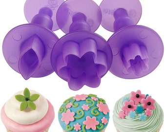 3 Mini Shape Fondant Treat Decoration Sugar Craft Tool Cutter Set, Flower Leaves Plunger Cutters Cut-Outs Set