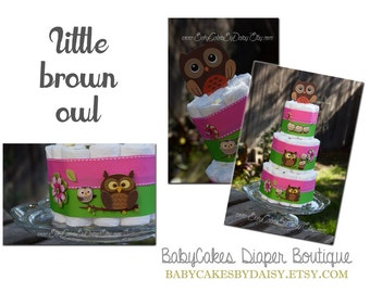 SPRING SALE, Owl Diaper Cake, Lime Green and Pink Baby Shower, Baby Shower Owl Diaper Cake
