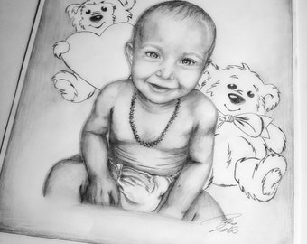 Custom drawing Portraits,children portraits,animal portraits