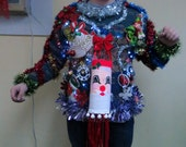 3-D Tacky Ugly Christmas Sweater Frankenstein Tacky Garland Windsock Santa with confetti poppers and lights  Hysterical mens sz M