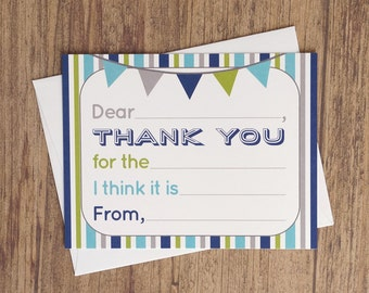 Fill In The Blank Thank You Cards - Boy Birthday Thank You Notes - Kids Thank You Note Card - Fill In Thank You Card - Blue Grey Green
