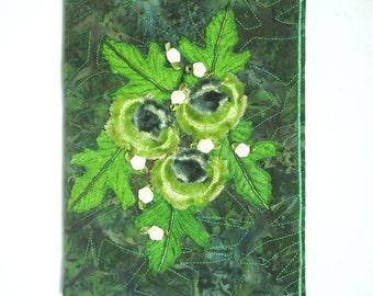 A5 Journal Cover. Diary Cover. Notebook Cover. Green Velvet Flowers, Cream Ribbon Flowers, Beaded and Embellished Journal Slip Cover