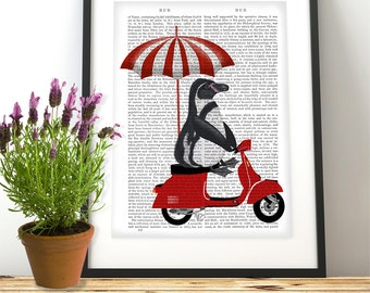 Penguin print - Red Moped funny home décor print for kids room Nursery Art for Kids Room Décor baby room Cute animal art cute gift wall art