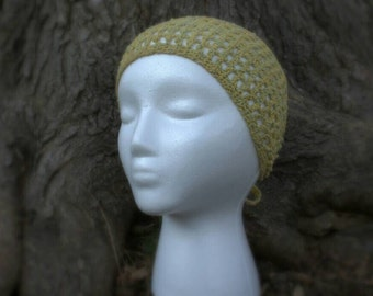 Yellow and sage green tie-on headband