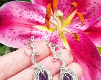 Amethyst/ Sterling Silver Wire Wrapped Earrings!