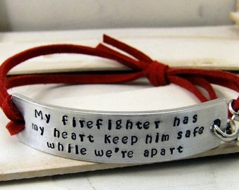 Firefighter Wife Jewelry, Firefighter Girlfriend Jewelry, Firefighter Jewelry, Firefighter Bracelet, Hand Stamped Bracelet