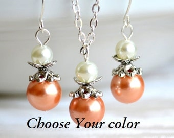 Orange Bridesmaid jewelry set Orange necklace and earrings set Bridesmaid gifts Orange Wedding jewelry Flower girl gift