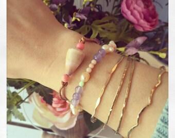 Cone Shell Bracelet, Hawaii Shell Bracelet, Leather Bracelet, Hawaii Cone Shell