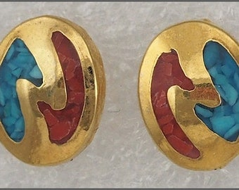 ON SALE Vintage Gold Tone Turquoise Coral Chip Inlaid Post Stud Pierced Earrings