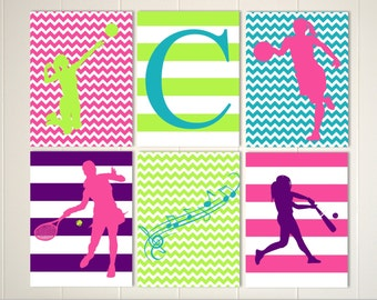 softball girls wall art basketball room decor tennis girl wall art tween wall. beautiful ideas. Home Design Ideas