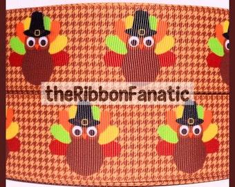 "5 yds 1.5"" Thanksgiving Pilgrim Turkey on Brown Houndstooth Grosgrain Ribbon"