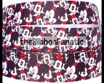 """5 yds 7/8"""" Mickey Ears Collage Black White Red  Grosgrain Ribbon"""