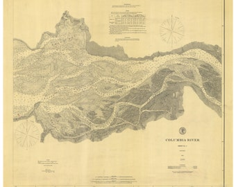 Columbia River Sheet No. 2 1879  Nautical Map, Oregon PC Harbors Reprint 641