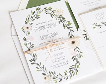 Greenery Wedding Invitation Watercolor Greenery Wreath Wedding Invite:  STEPHANIE.