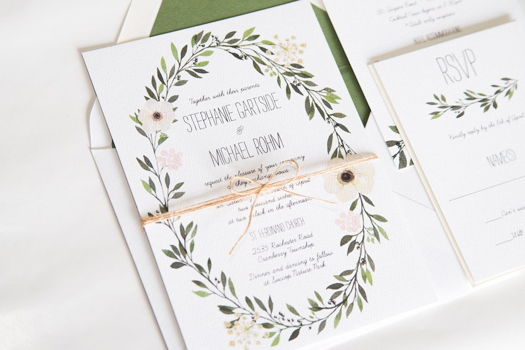watercolor wreath greenery wedding invitation stephanie - How To Assemble Wedding Invitations