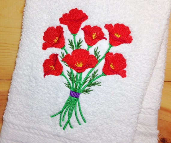 Red Kitchen Hand Towels: Red Poppy Towels Embroidered Poppies Hand By TwistedStitches13