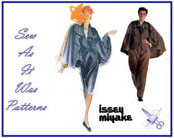 "1980s Uncut FF Issey Miyake Vogue 2352 Individualist Designer Capelet Jacket Pants Skirt Vintage Sewing Pattern Size 14 Bust 36"""