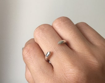 Silver On Pointe Ring, silver cuff ring, stacking ring