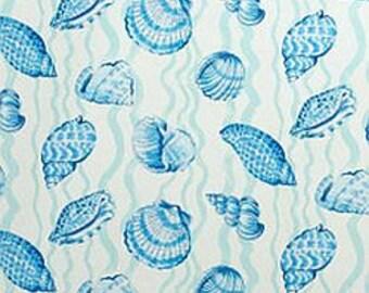 Aqua and Blue Seashell Fabric, Coastal Fabric, Beach Fabric, Seashell Fabric