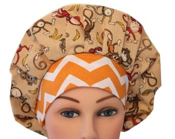 Scrub Cap Surgical Hat Chef   Dentist Hat Tie Back Bouffant Brown Monkeys Bananas Orange  Red  2nd Item Ships FREE
