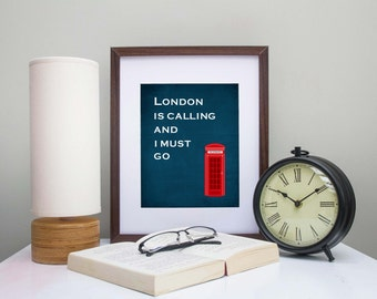London Art Print - London Travel Art - I Love London - United Kingdom - Red Phone Booth - Gift for Anglophile - England Art - Great Britain