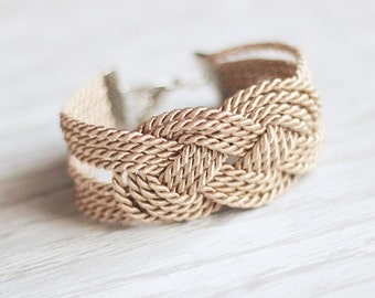 Beige Bracelet, Sailor Knot Bracelet, Brown Knot Bracelet, Rope Bracelet, Sailor Knot, Rope Knot, Nautical Bracelet, Nautical Jewely,Braided