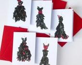 holly dress christmas card set